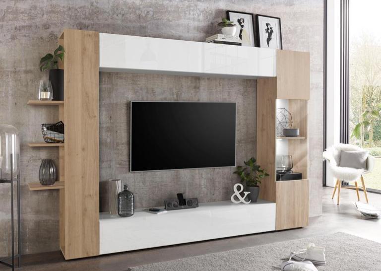 Wohnzimmer Wohnwand grau