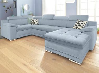 Hellblaue Sofas