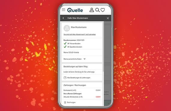 Kundenkonto und Bestellstatus in der Quelle App