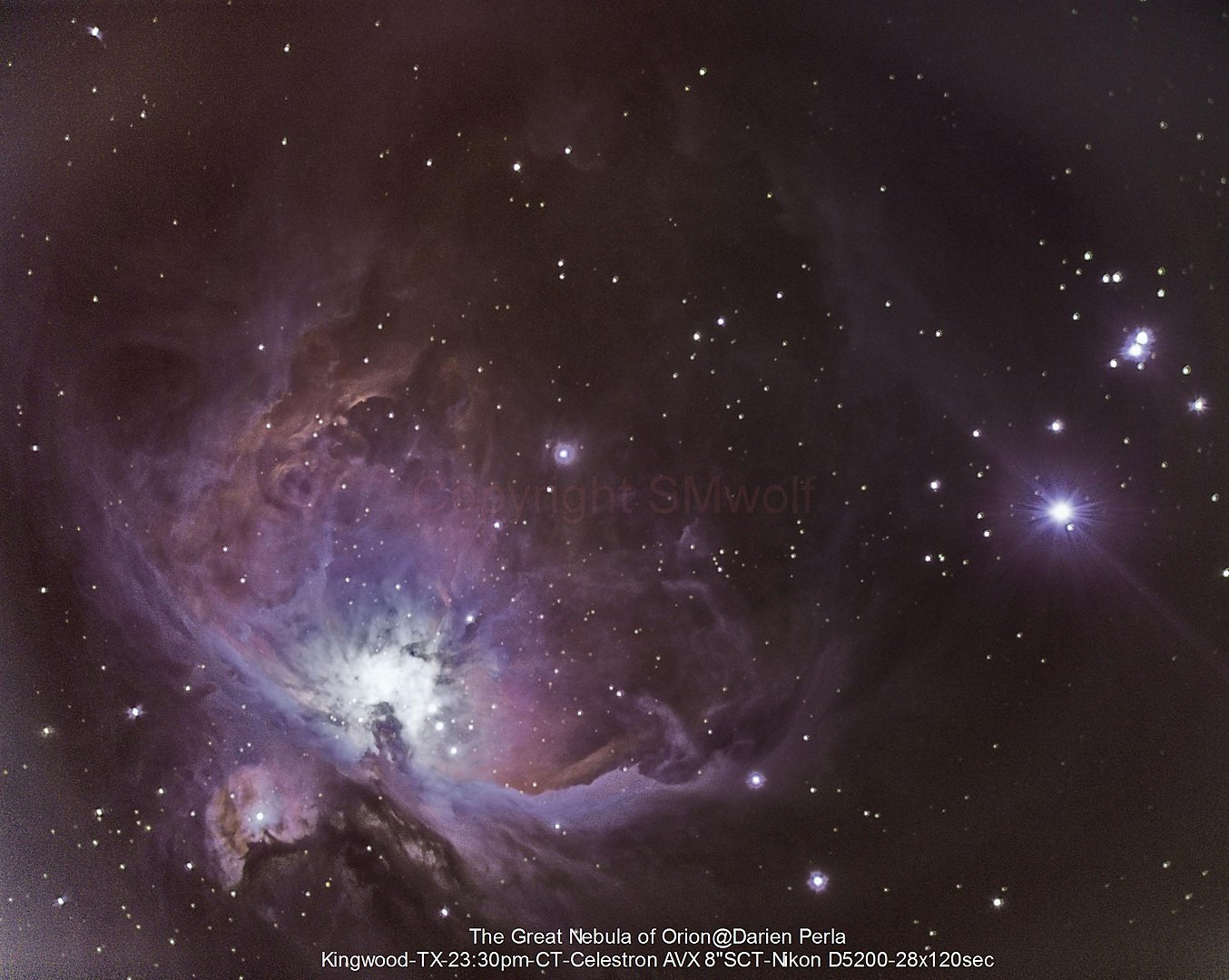 Orion Nebula (M 42), De Mairan's Nebula (M 43) and NGC 1980