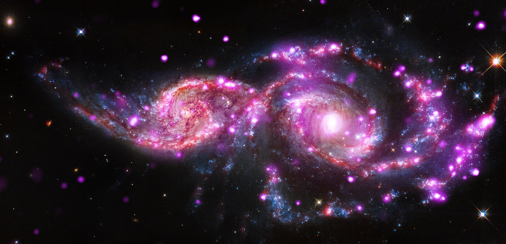 Arp 87 is what you get when two galaxies enter into a steel cage matchand only one leaves Galactic collisions are actually pretty common and sometimes