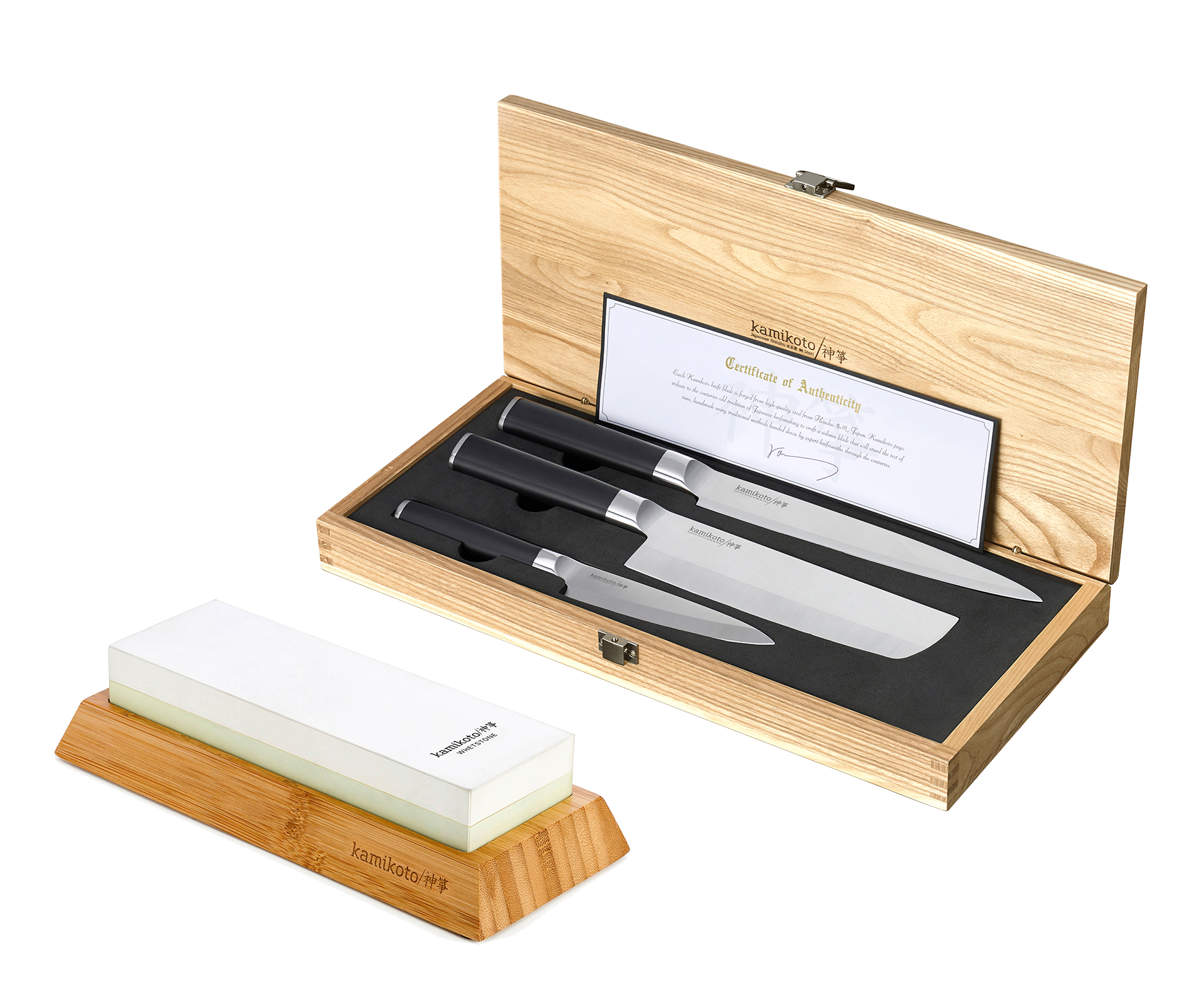 Kanpeki Knife Set & 1000/3000 Toishi Whetstone