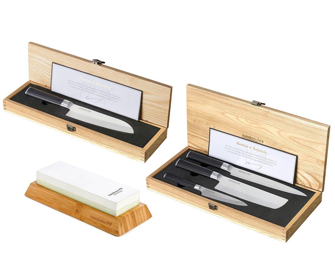 Kanpeki Knife Set, 7-Inch Santoku & 1000/3000 Toishi Whetstone