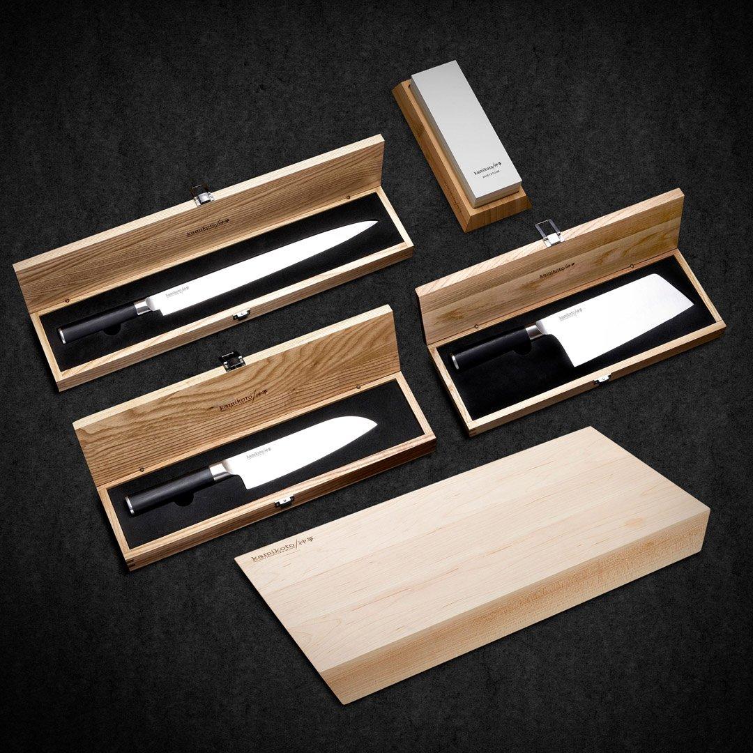 13-inch Yanagiba, Chuka Bocho Cleaver, 7-inch Santoku, Whetstone & Shogai Cutting Board