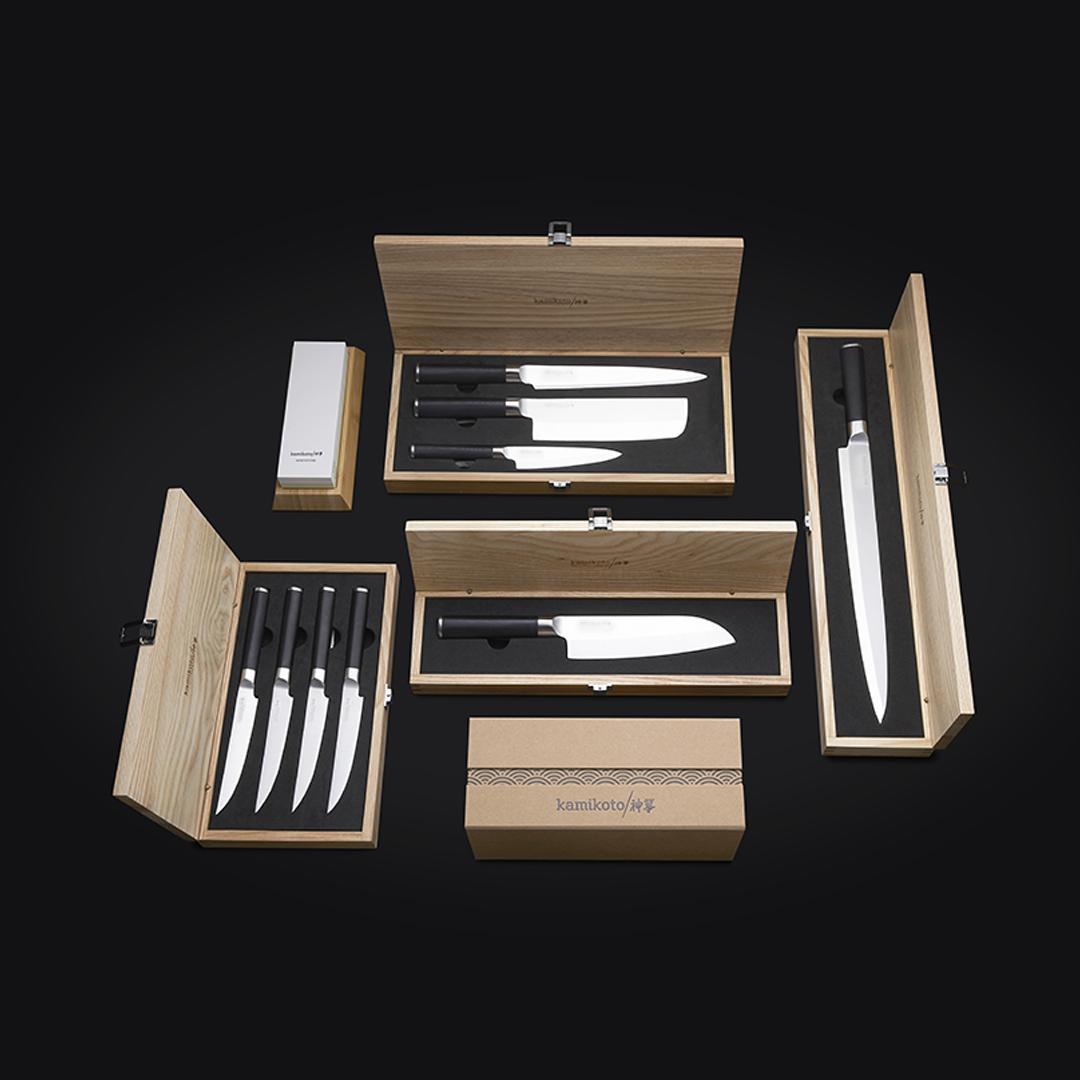 Kanpeki Set, Santoku Knife, 13-inch Yanagiba, Steak Knife Set & Sharpening Whetstone