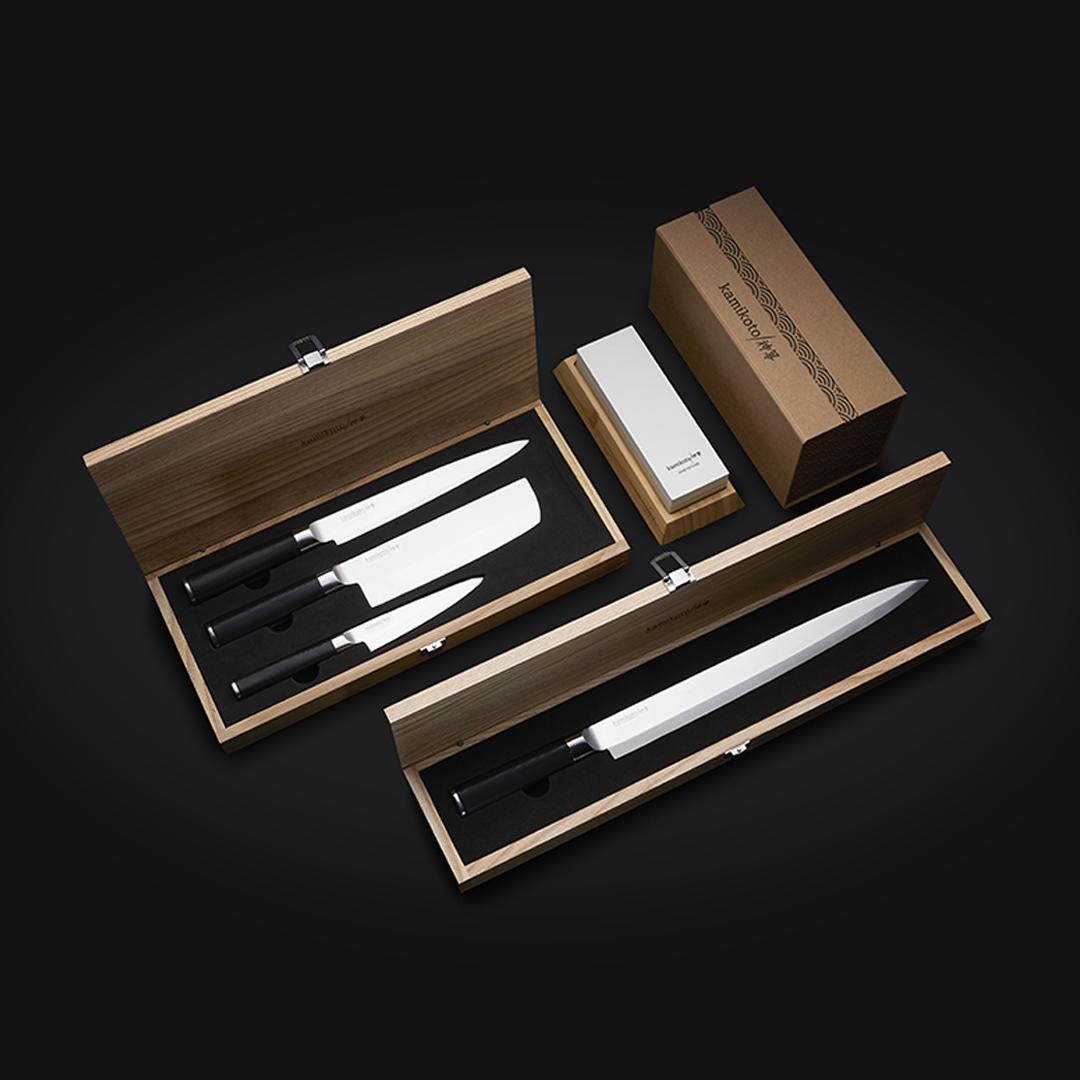 Kanpeki Knife Set, 13-inch Yanagiba & Sharpening Whetstone