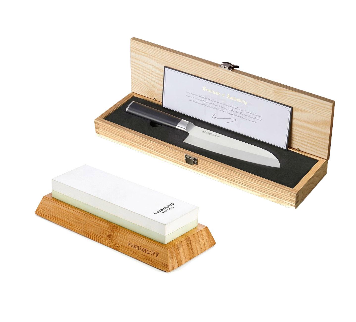 7-Inch Santoku Knife & 1000/3000 Toishi Whetstone