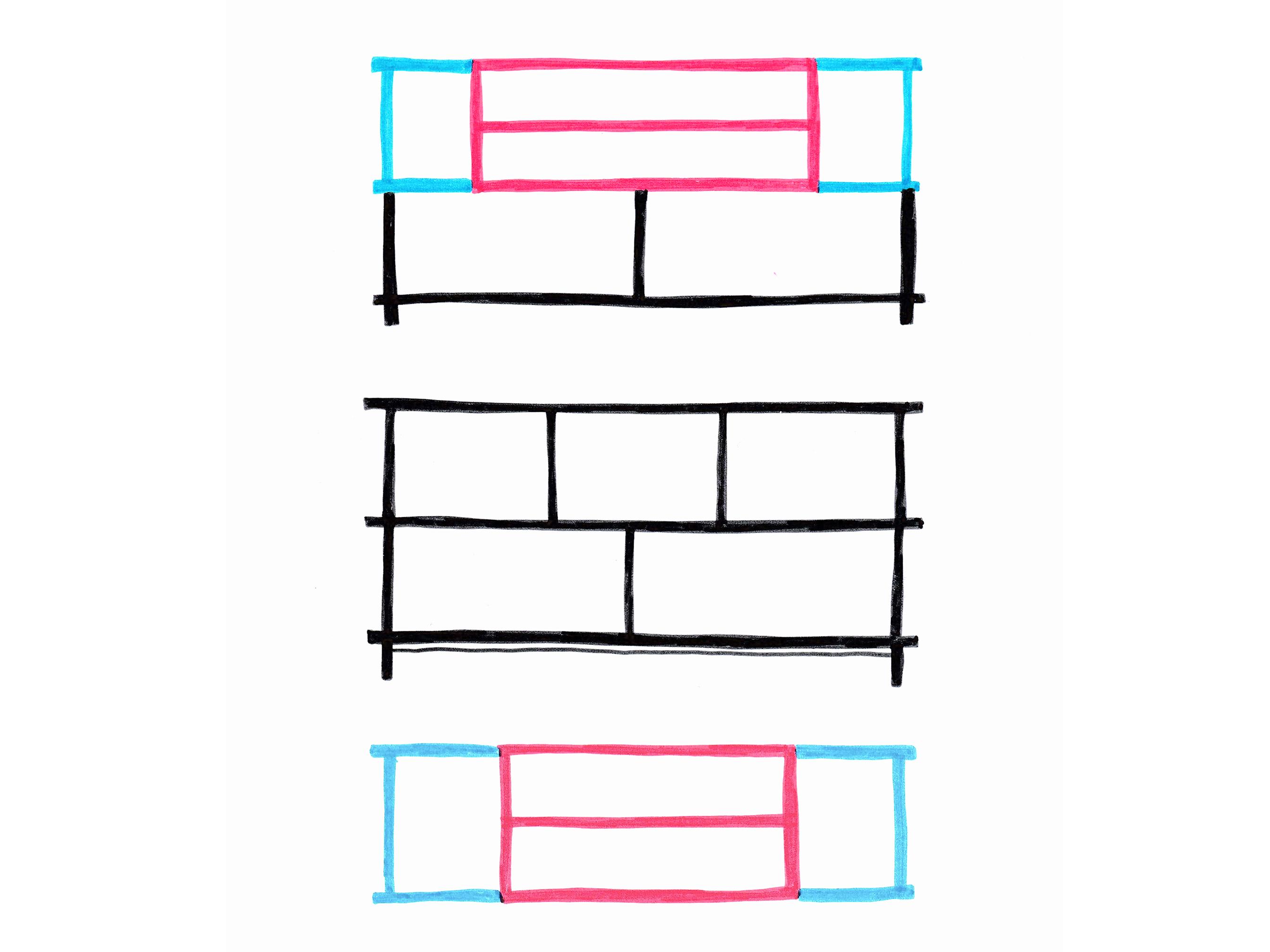 Le rangement Strat a été conçu comme un meuble architectural basé sur un principe d'assemblage simple.