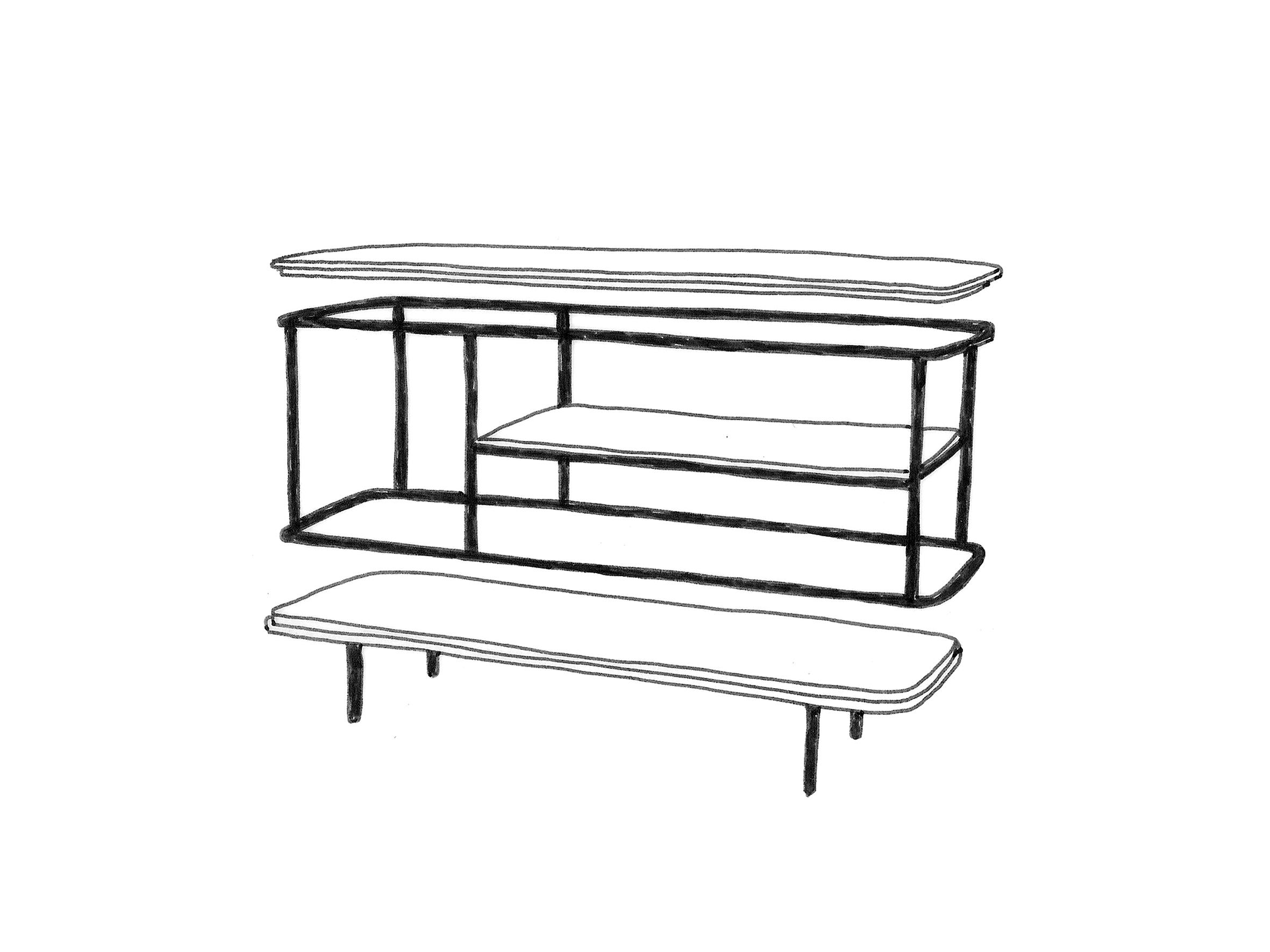 Une structure métallique filaire dessine le volume global du meuble, plusieurs plateaux en bois viennent se poser sur la structure afin d'offrir différentes surfaces de rangement.