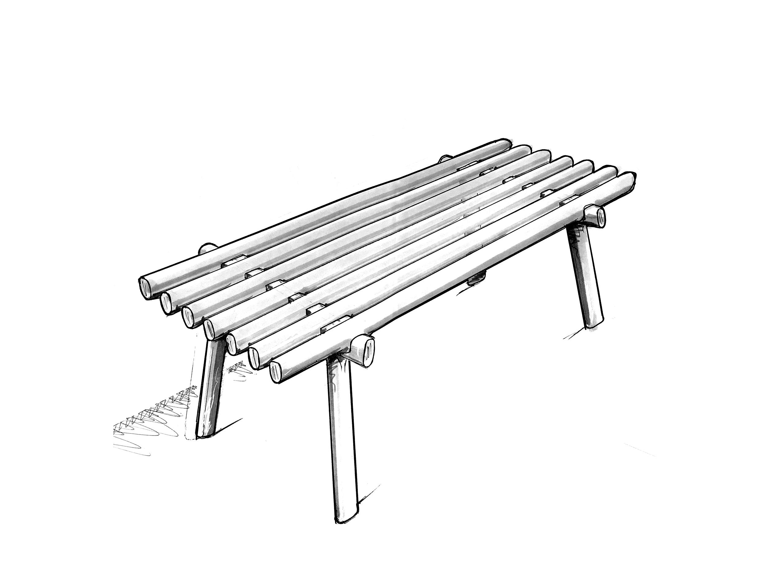 Les lignes horizontales de l'assise en teck s'encastrent dans le piètement en hêtre, rendant apparente la technicité de l'assemblage.