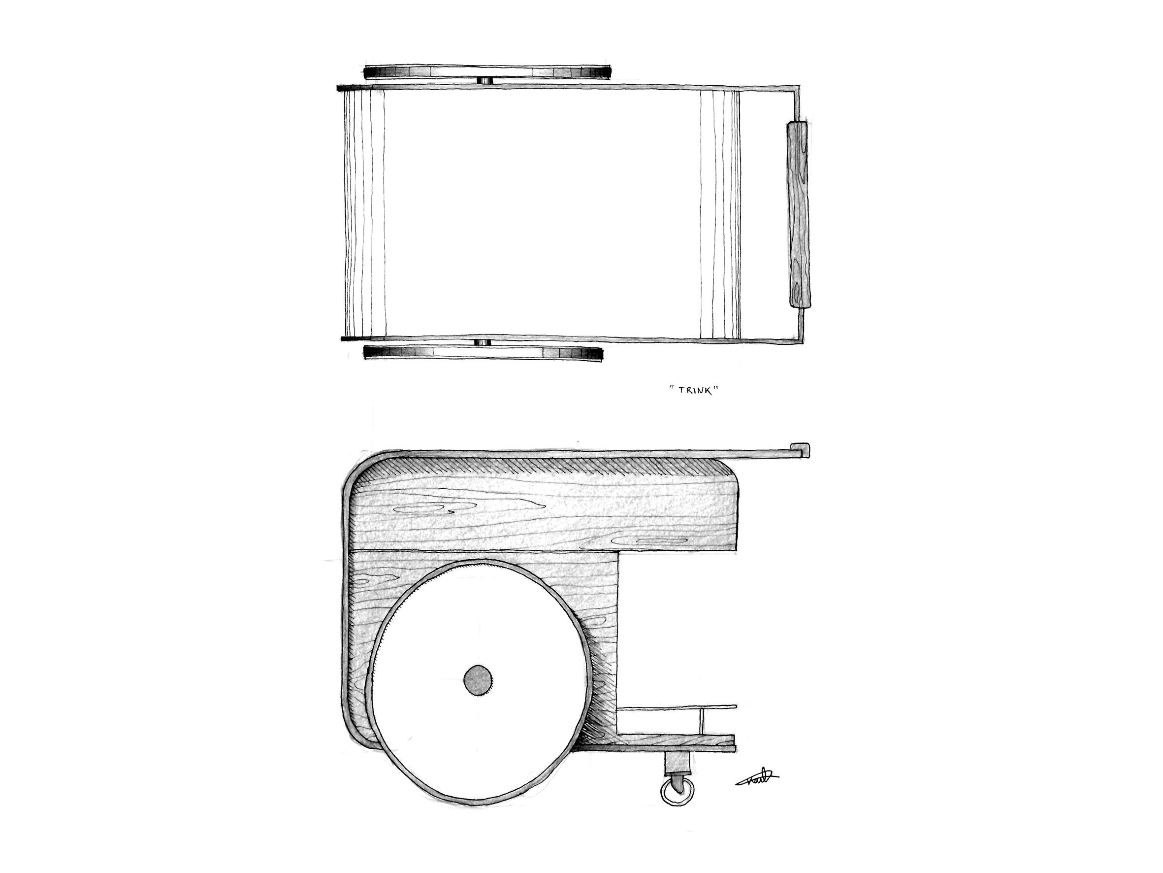 Studio Caramel propose avec le Chariot Trink une pièce d'exception où l'acier noir vient découper et structurer le bois.