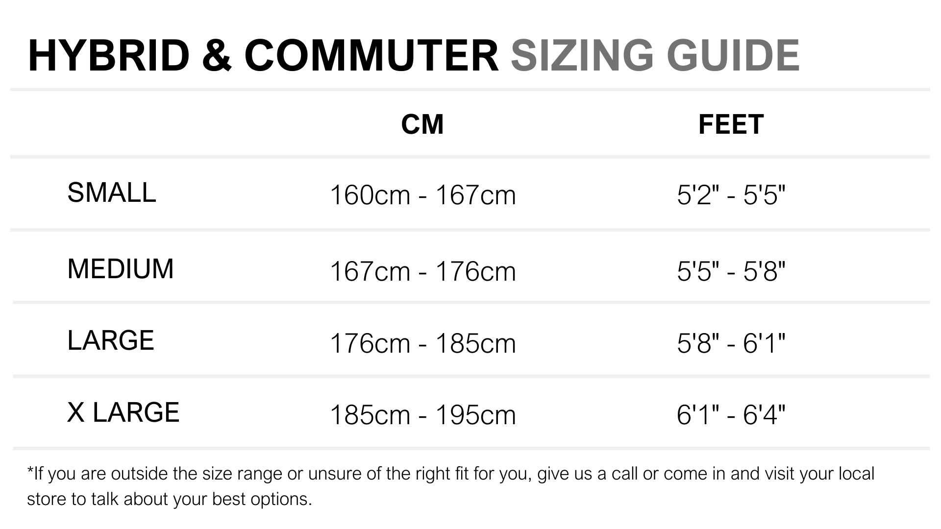 Bicycle Size Guide Reid Cycles Reid Cycles Au
