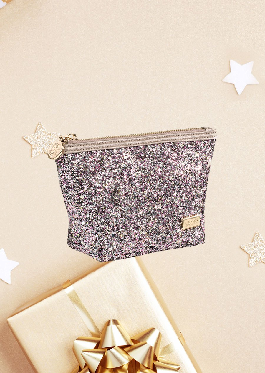mini sparkly pink cosmetic bag