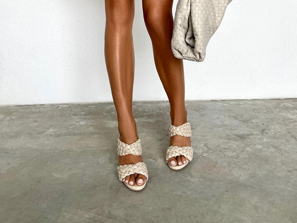 Kimberly Tony Bianco Nude Heels Woven Leather Trend