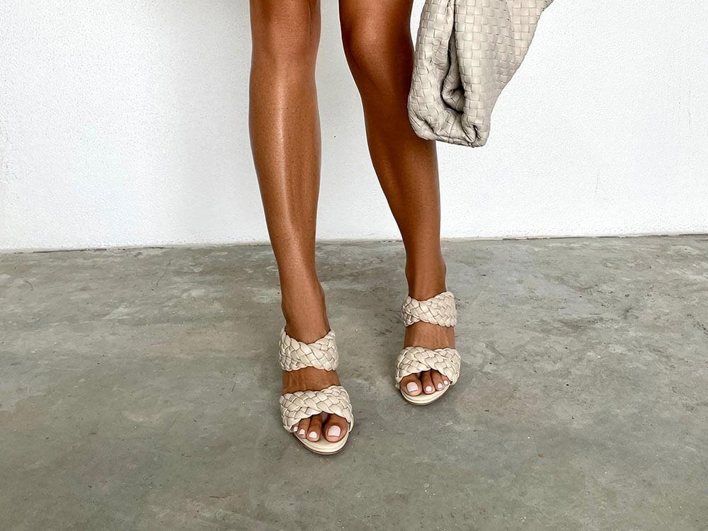 Kimberly Tony Bianco Nude Heels Woven Leather Trend
