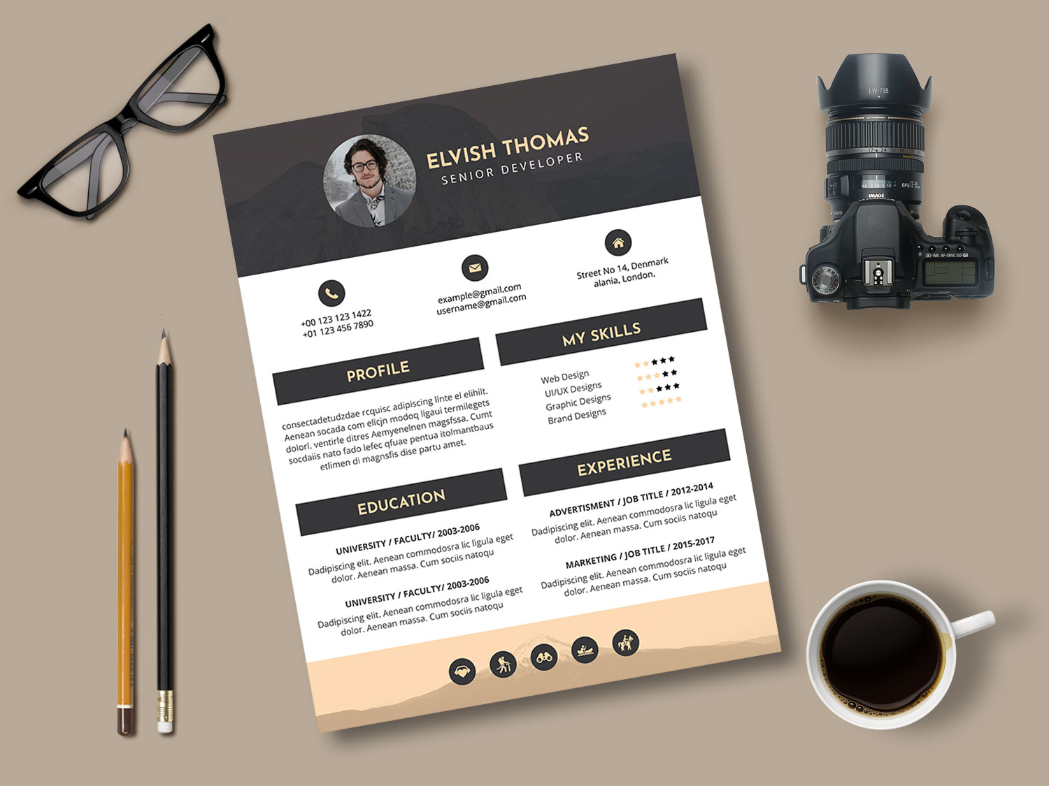 Interview Resume PSD Template