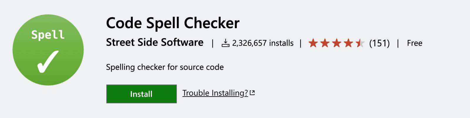 Code Spell Checker extension