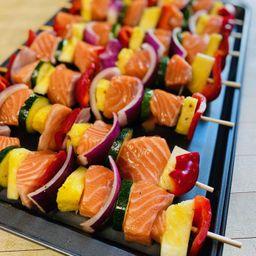 Maple Glazed Salmon Skewers