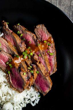 Korean Hanger Steak with Gochujang Butter and House Made Kimchi
