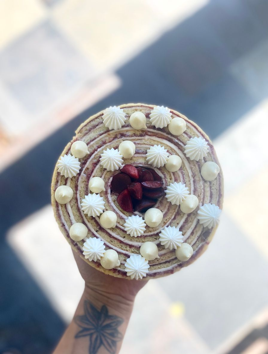 """Cherry """"rolled"""" cake"""
