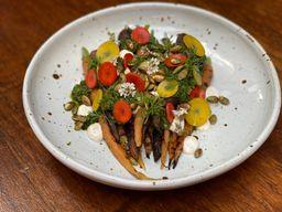 Grilled Carrots, Whipped Chevre, & Salsa Verde