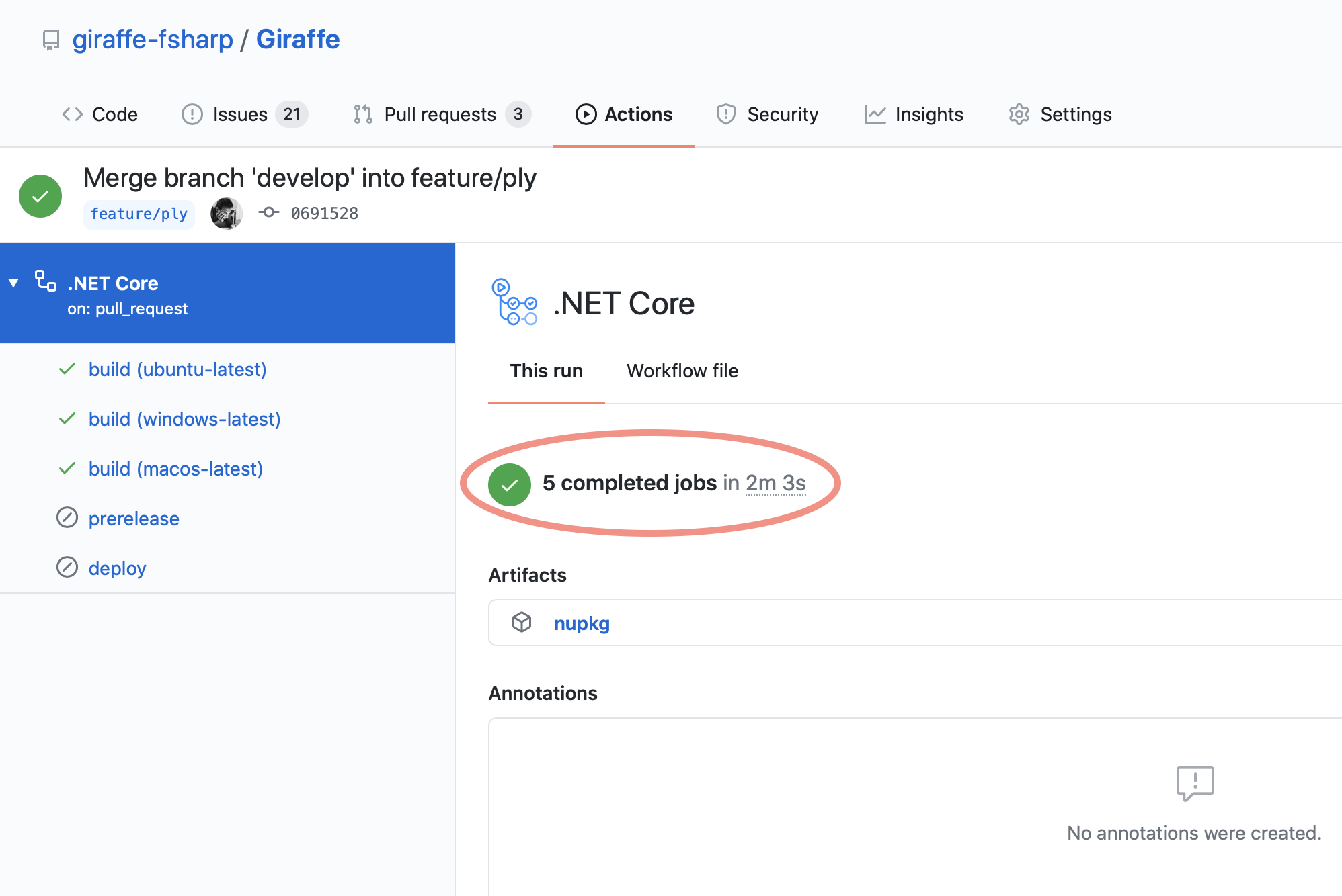 GitHub Action Build time for Giraffe