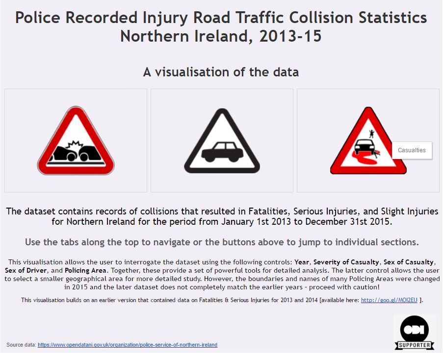 Northern Ireland Road Traffic Collision Data 2013-15: A visualisation of the data