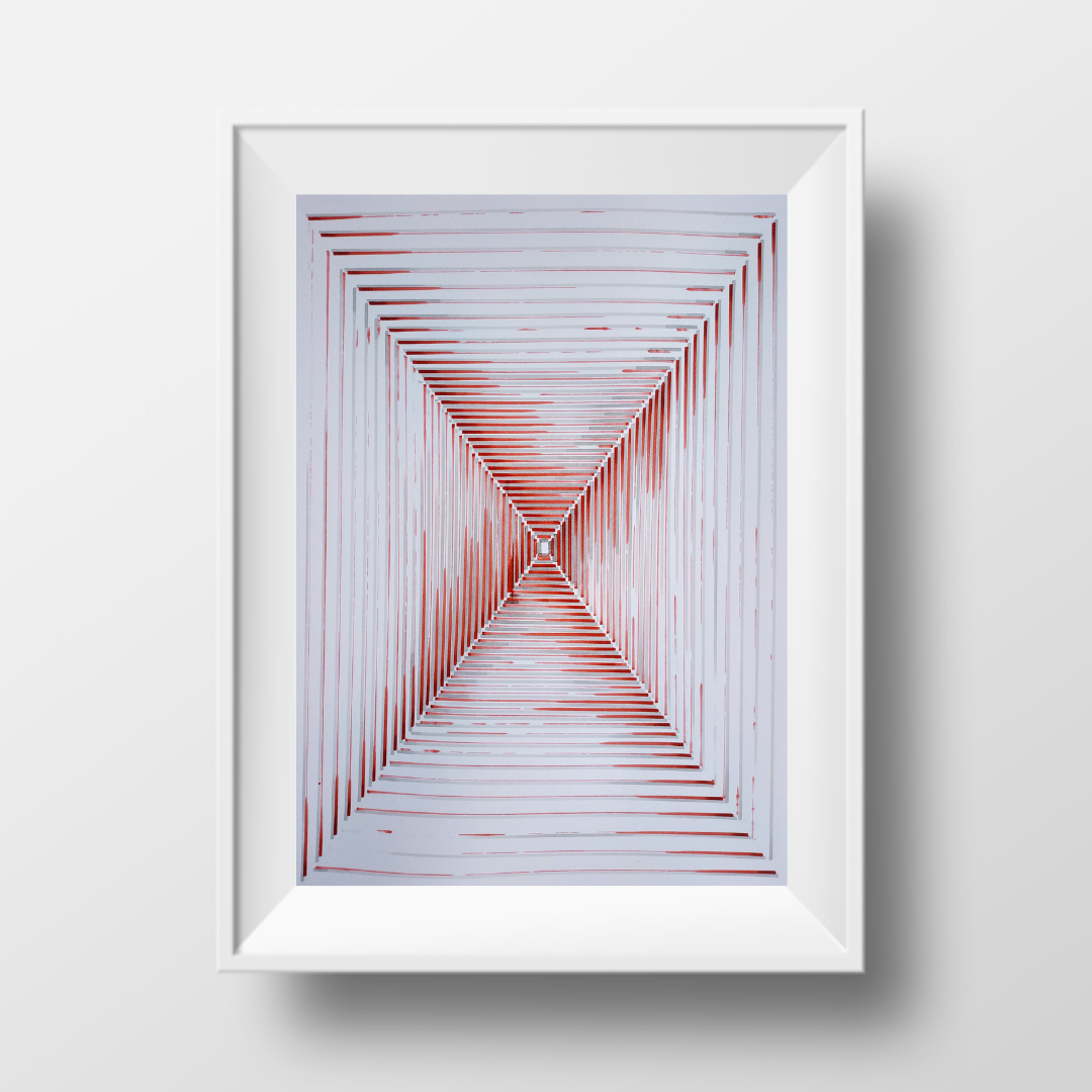 Коридор-Червоний, 2020, чорнило на папері, 45*32 см