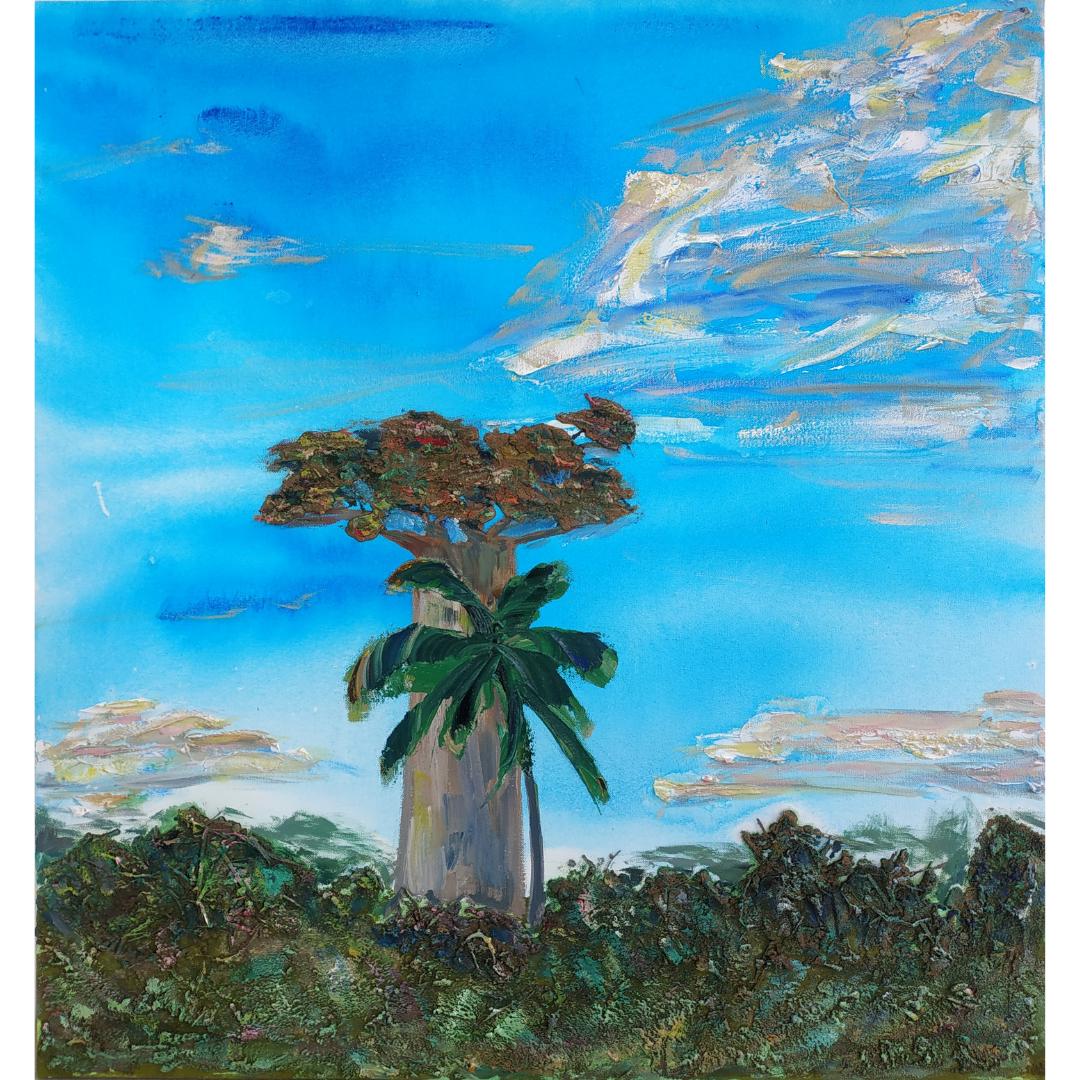 Баобаб і пальма, 2020, змішана техніка, полотно, 80*75 см