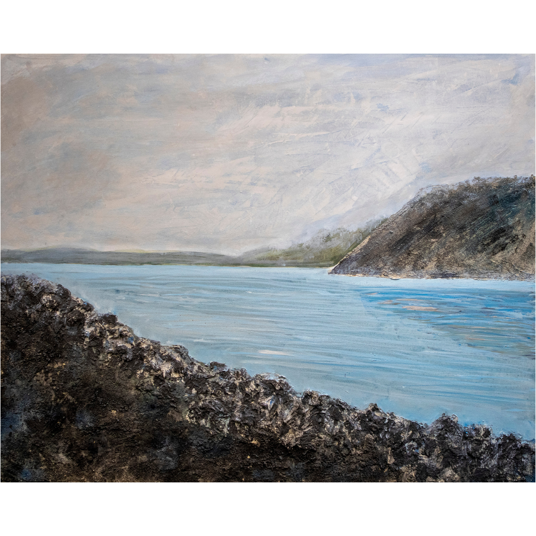 Голуба лагуна, 2019, змішана техніка, полотно, 80*100 см
