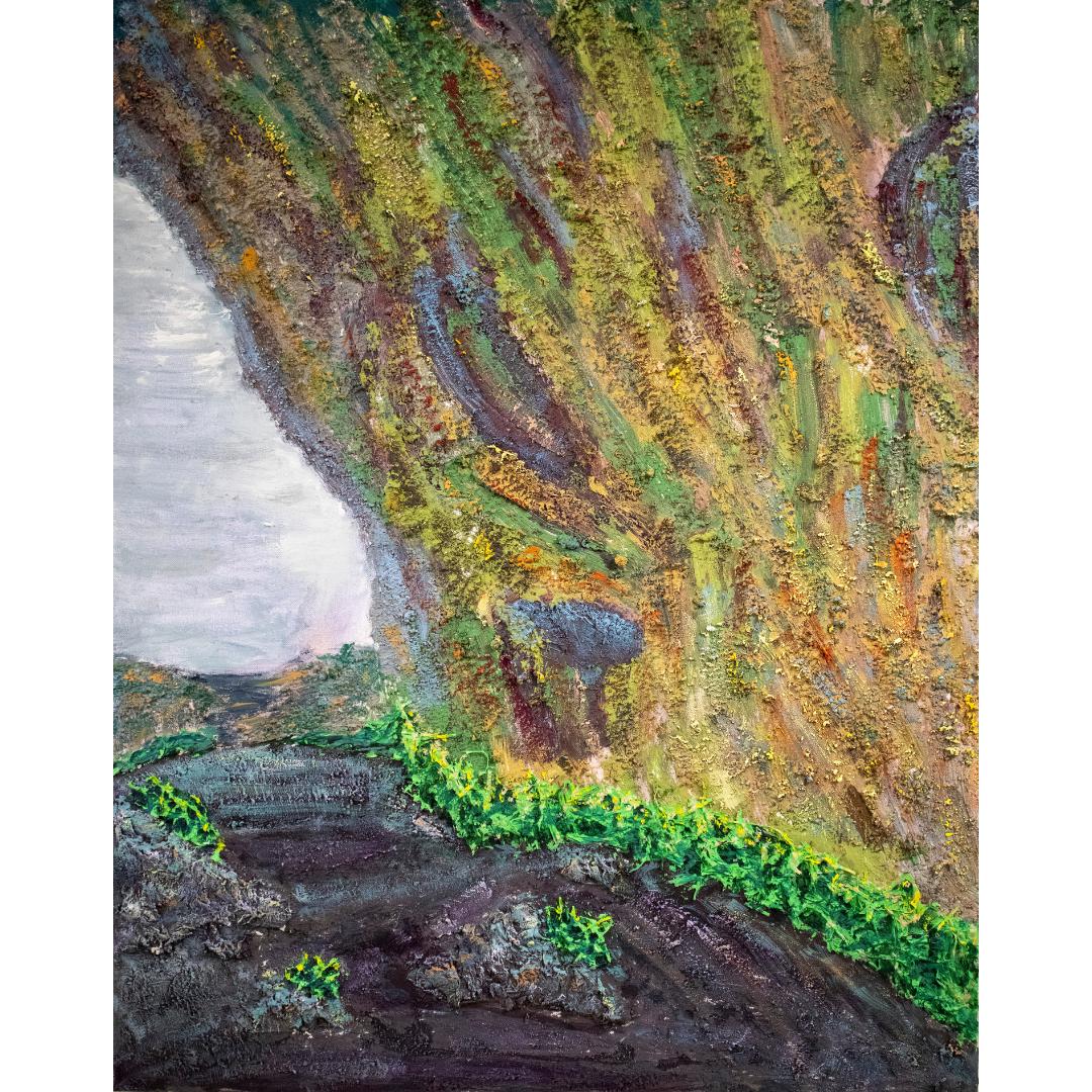 Печера під водоспадом, 2019, змішана техніка, полотно,100*80 см