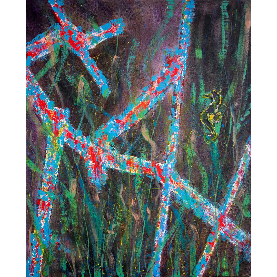 Морський коник, 2020, змішана техніка, полотно,80*65 см