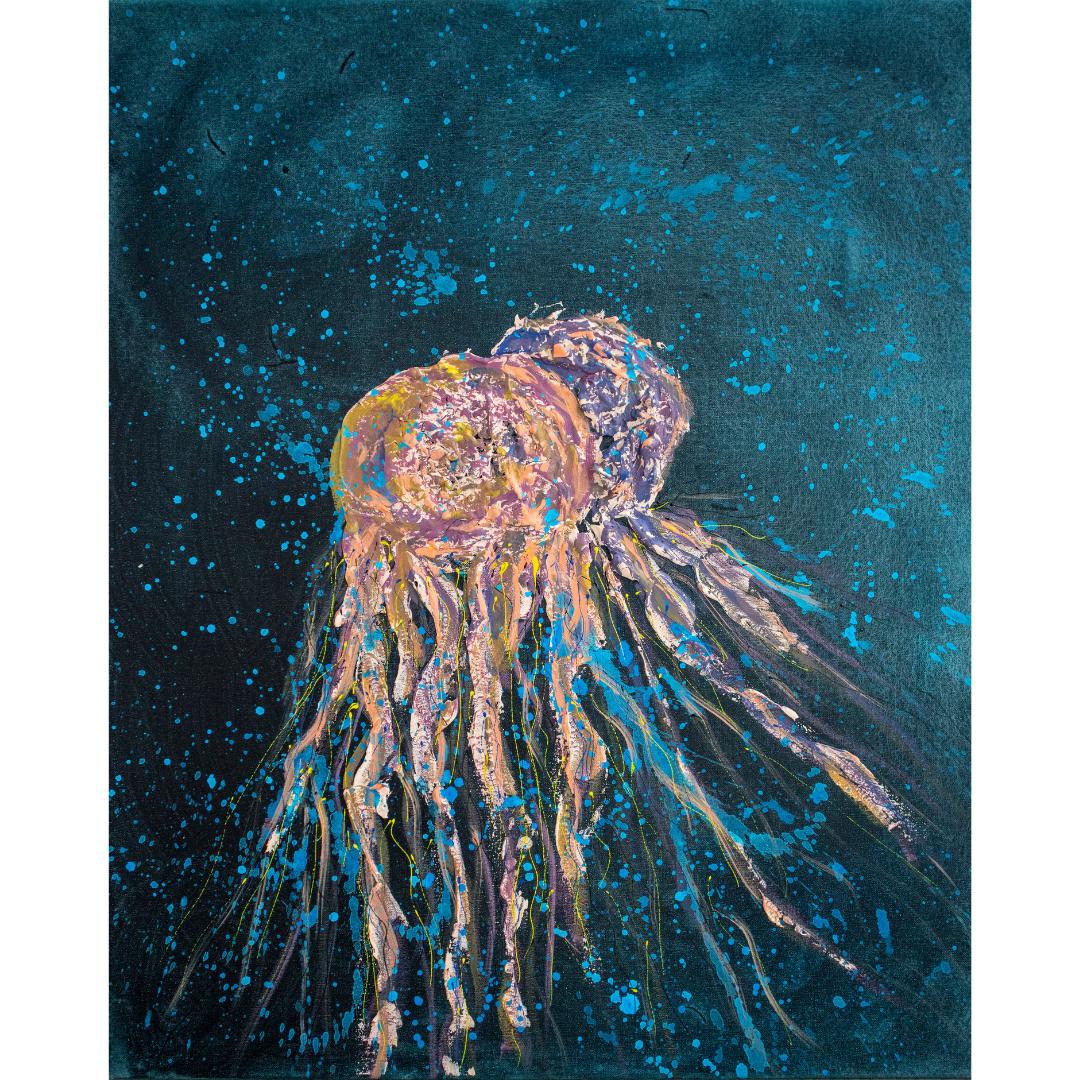 Медузи, 2020, змішана техніка, полотно,80*65 см