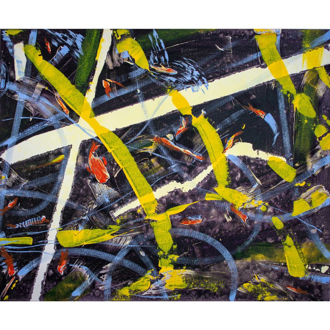 Риби, 2019, змішана техніка, полотно,65*80 см