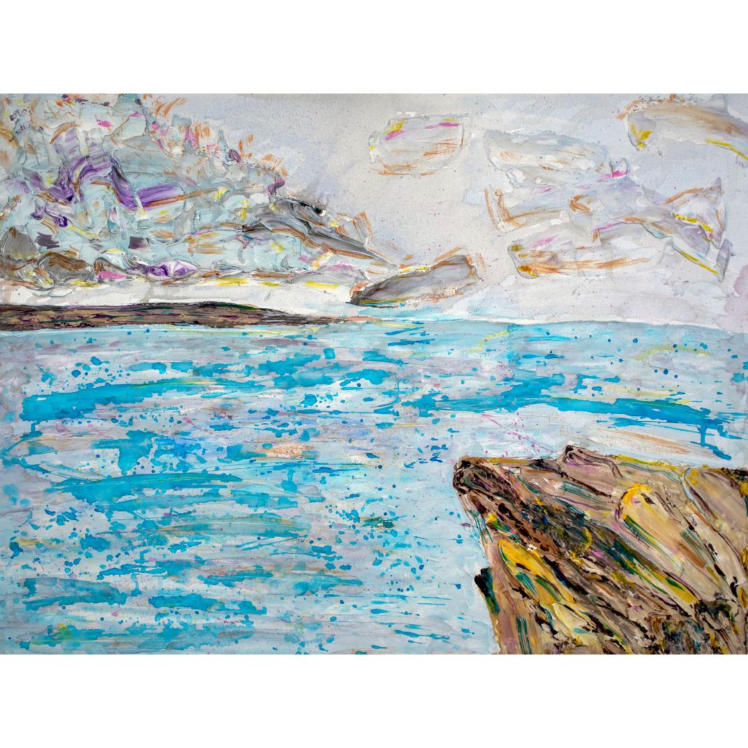 Океан.Назаре, 2019, змішана техніка, ДВП,60*80 см
