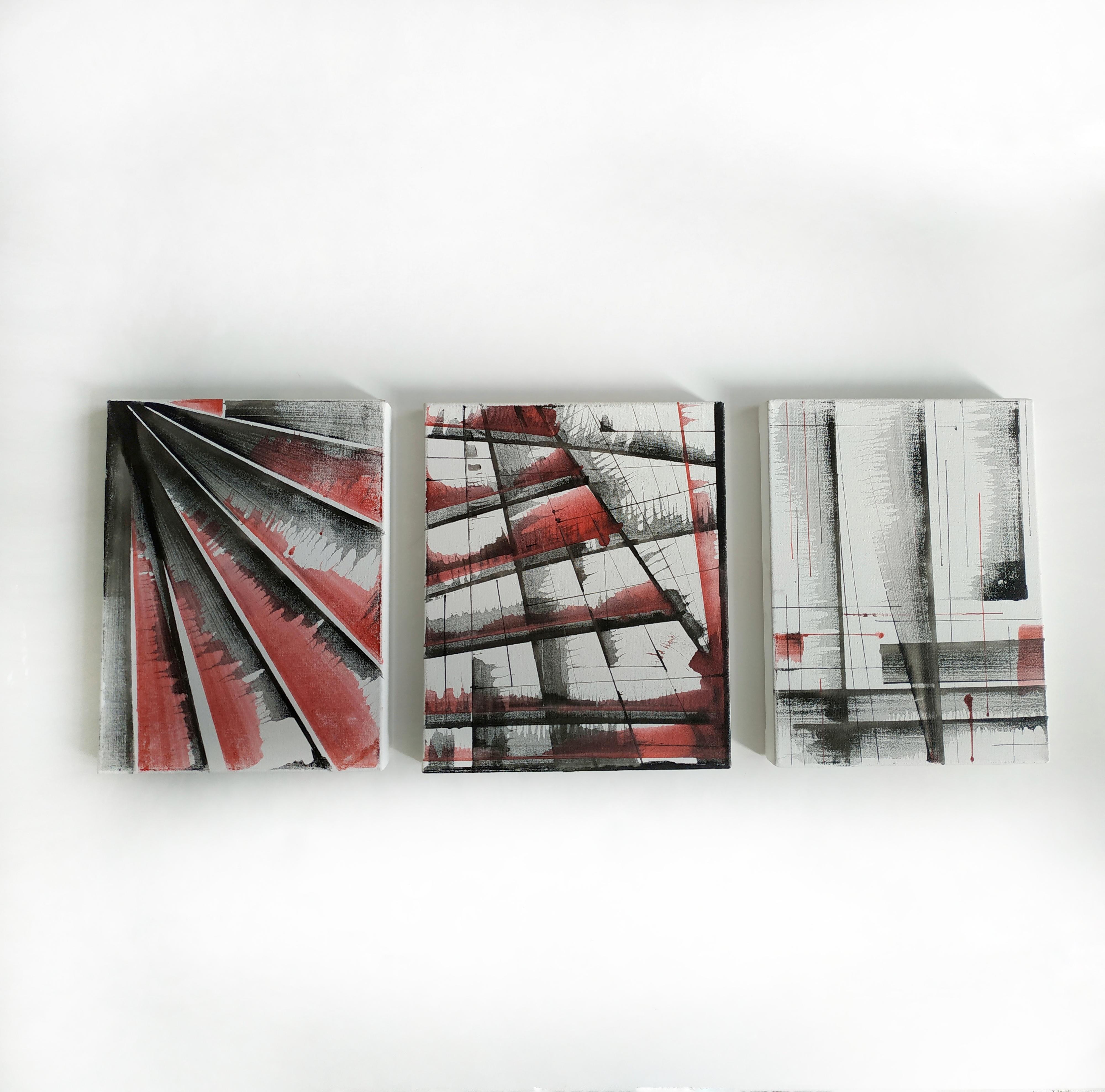 Триптих, 2019, чорнило, полотно,60*24 см