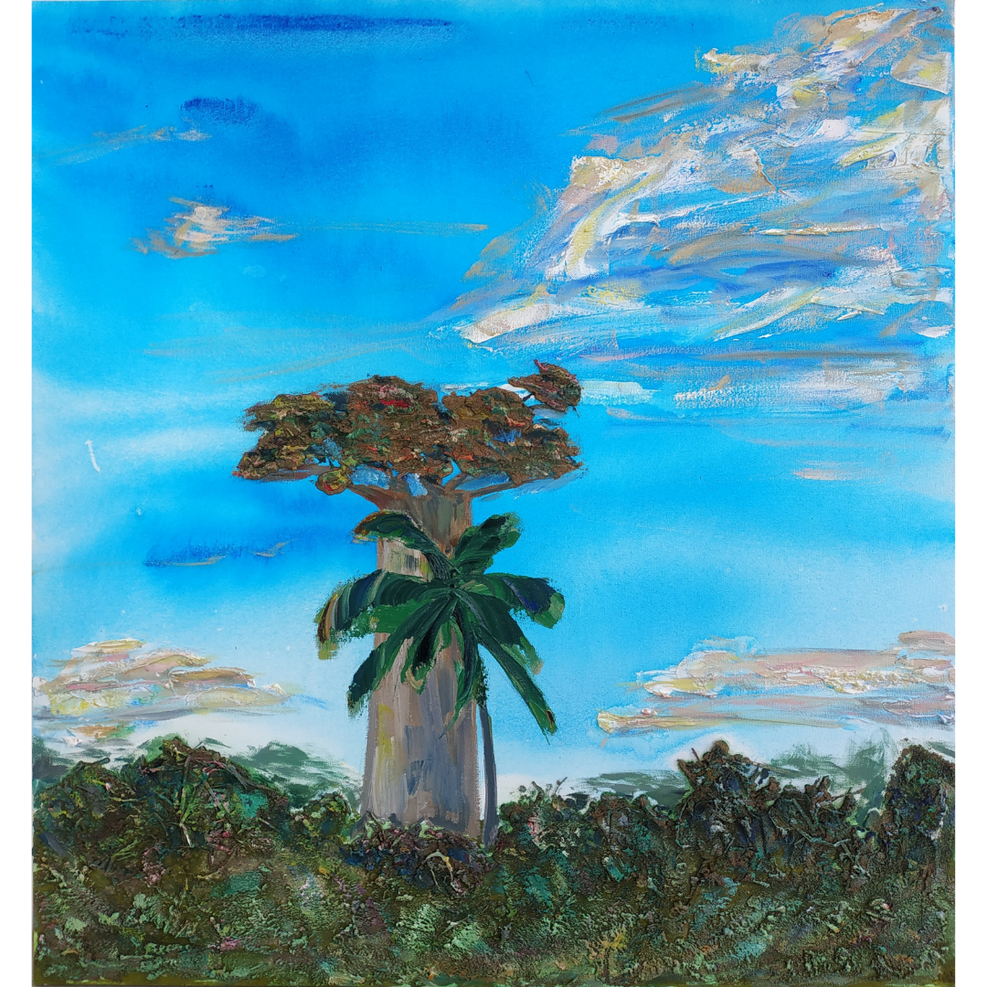 The Baobab and the Palm tree, 2020, Mixed media, canvas, 80*75 cm