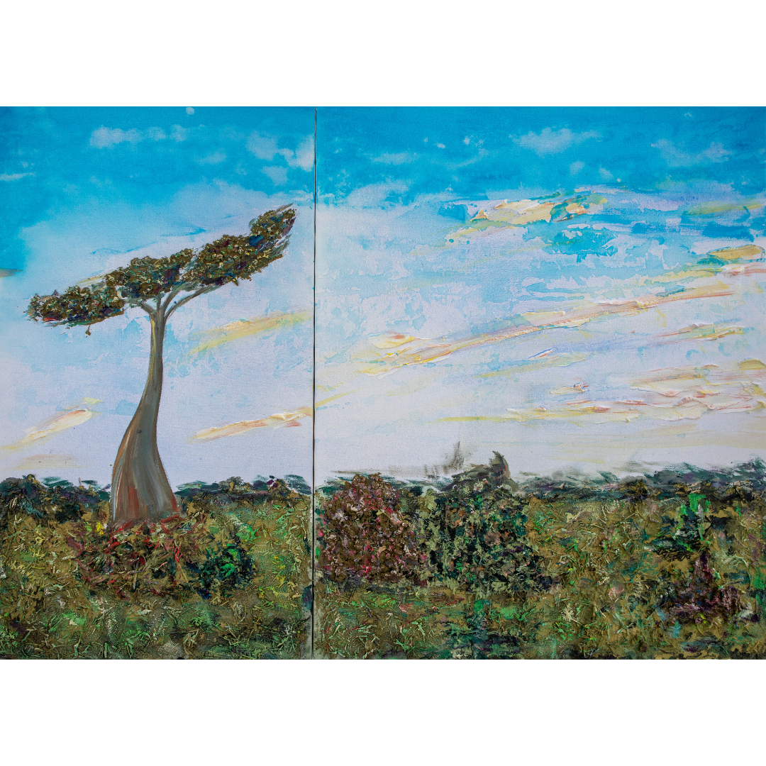 The Baobab. Diptych, 2020, Mixed media, canvas, 80*110 cm