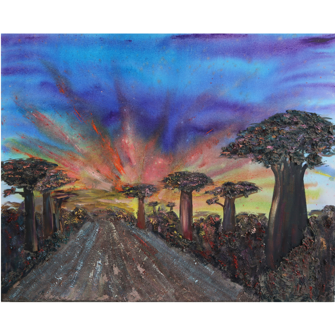 The Sunset with baobabs, 2020, Mixed media, canvas, 80*100 cm