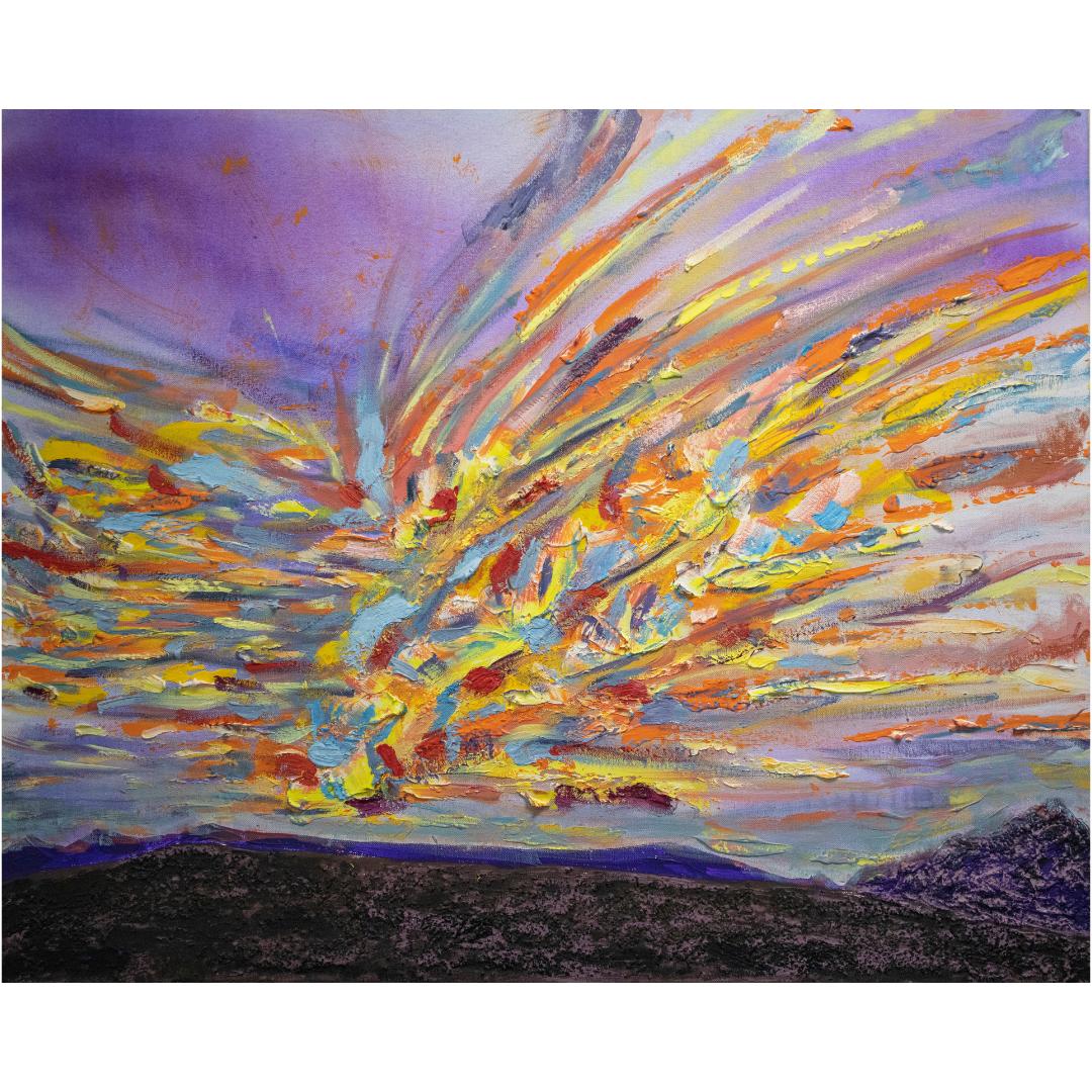 The Sunset near the Glacier, 2019, Mixed media, canvas, 80*100 cm
