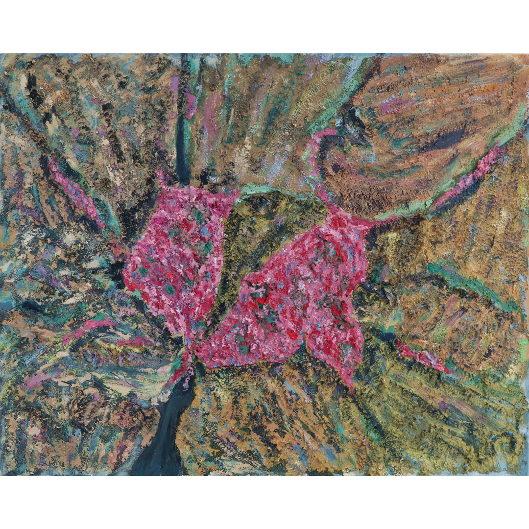 The Flowers on the rocks, 2019, Mixed media, canvas, 80*100 cm