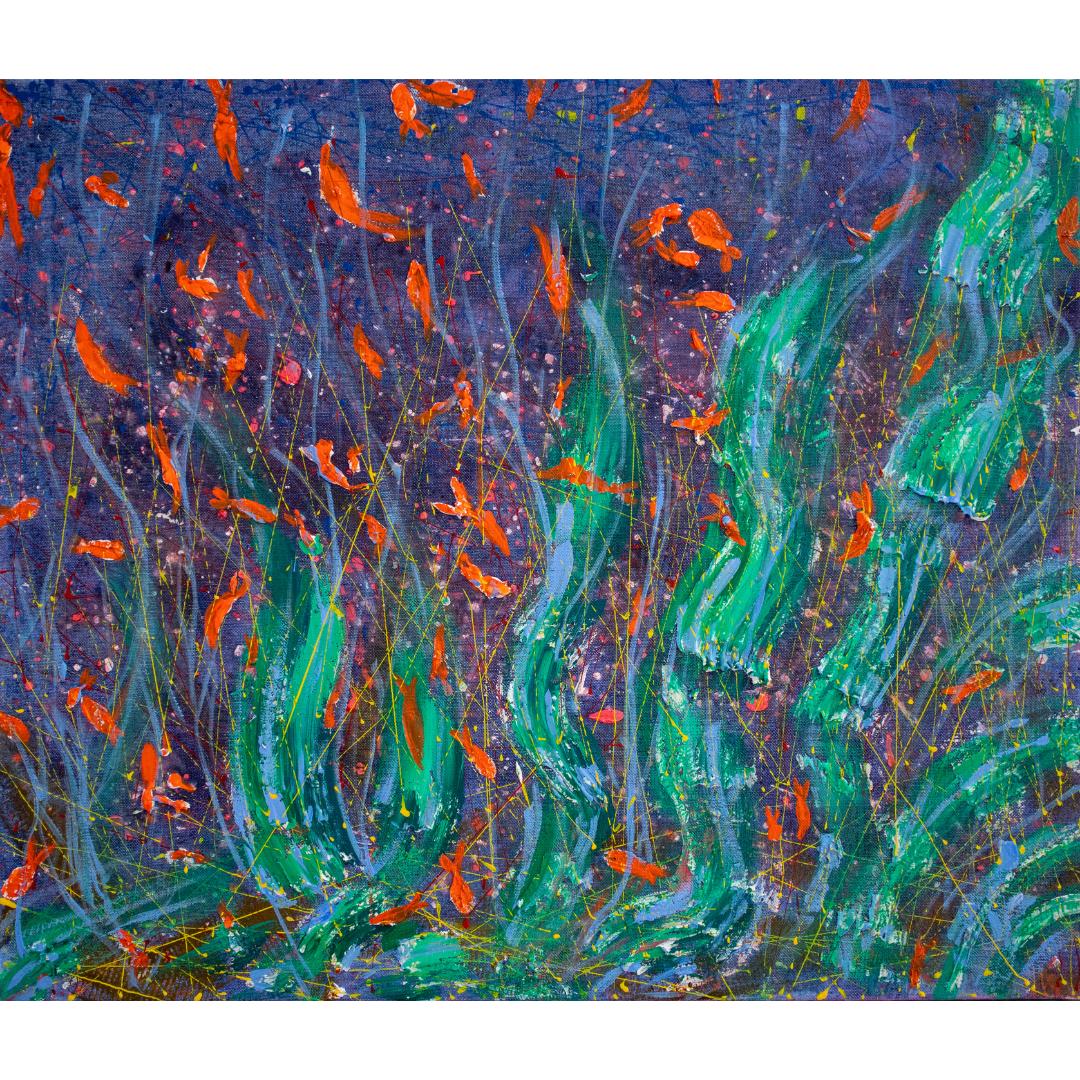 Small fish, 2020, Mixed media, canvas, 55*65 cm