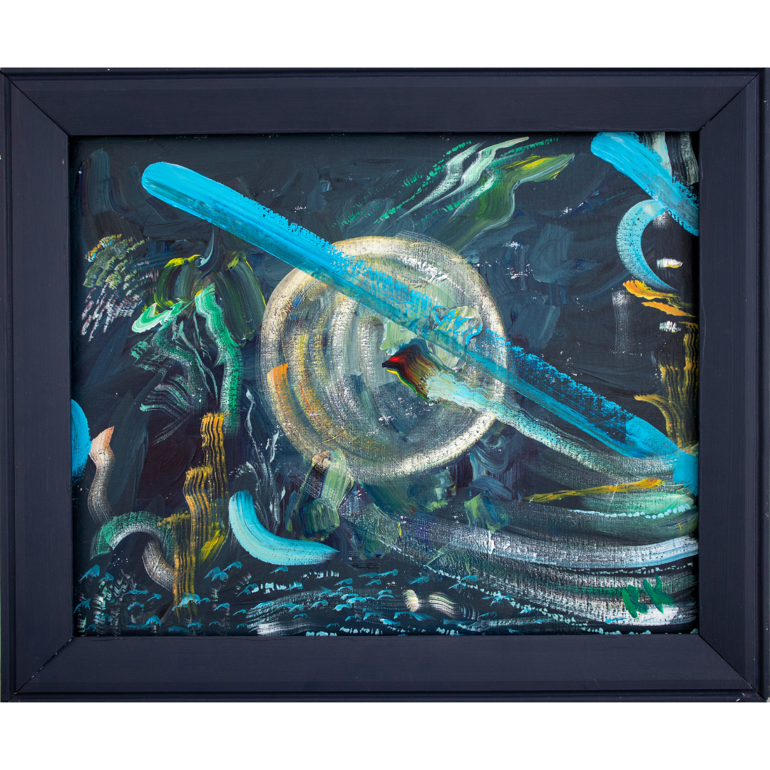 The Circle, 2019, Acrylic, canvas on cardboard, framed, 49*59 cm