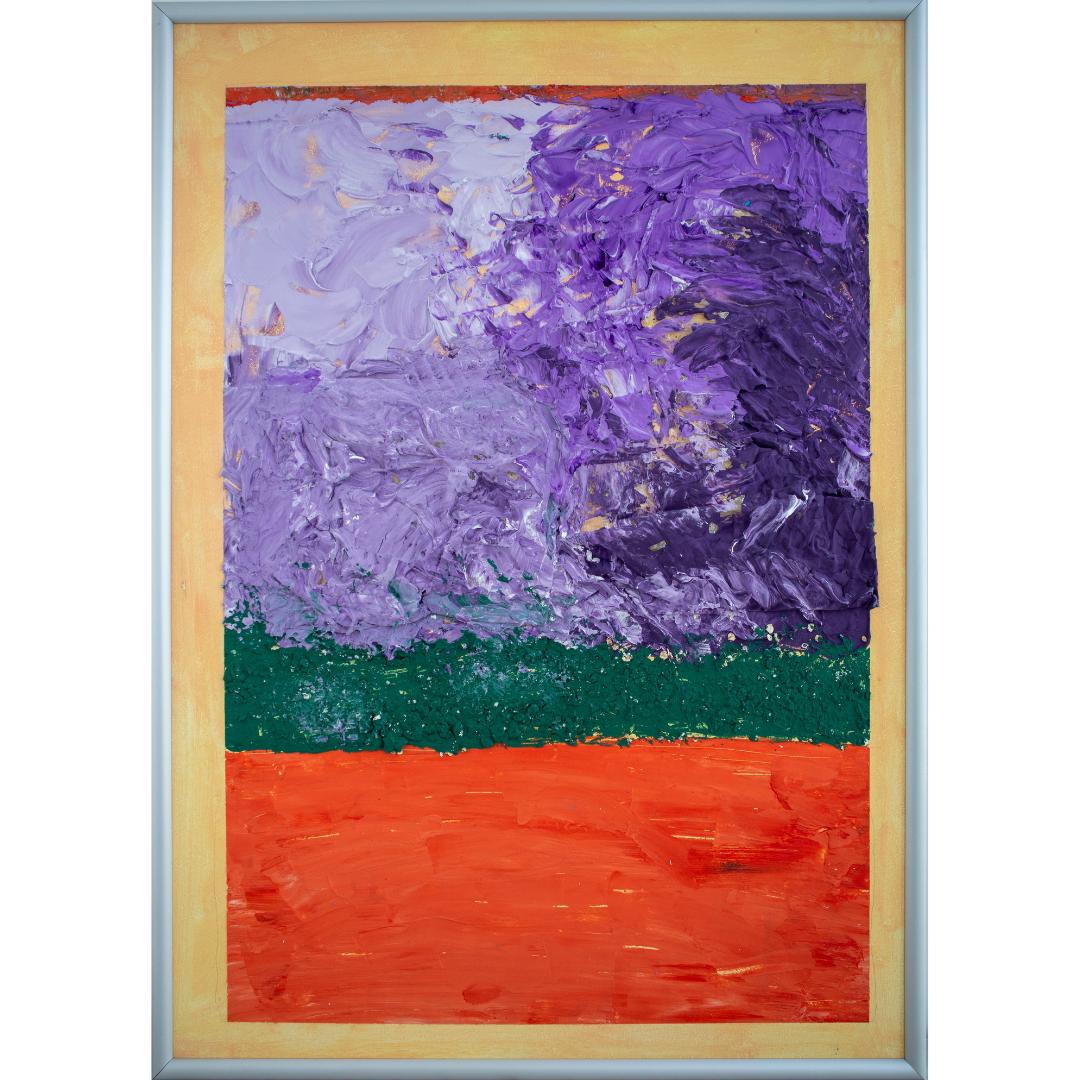 Abstract landscape, 2019, Mixed media, cardboard, framed, 71*51 cm