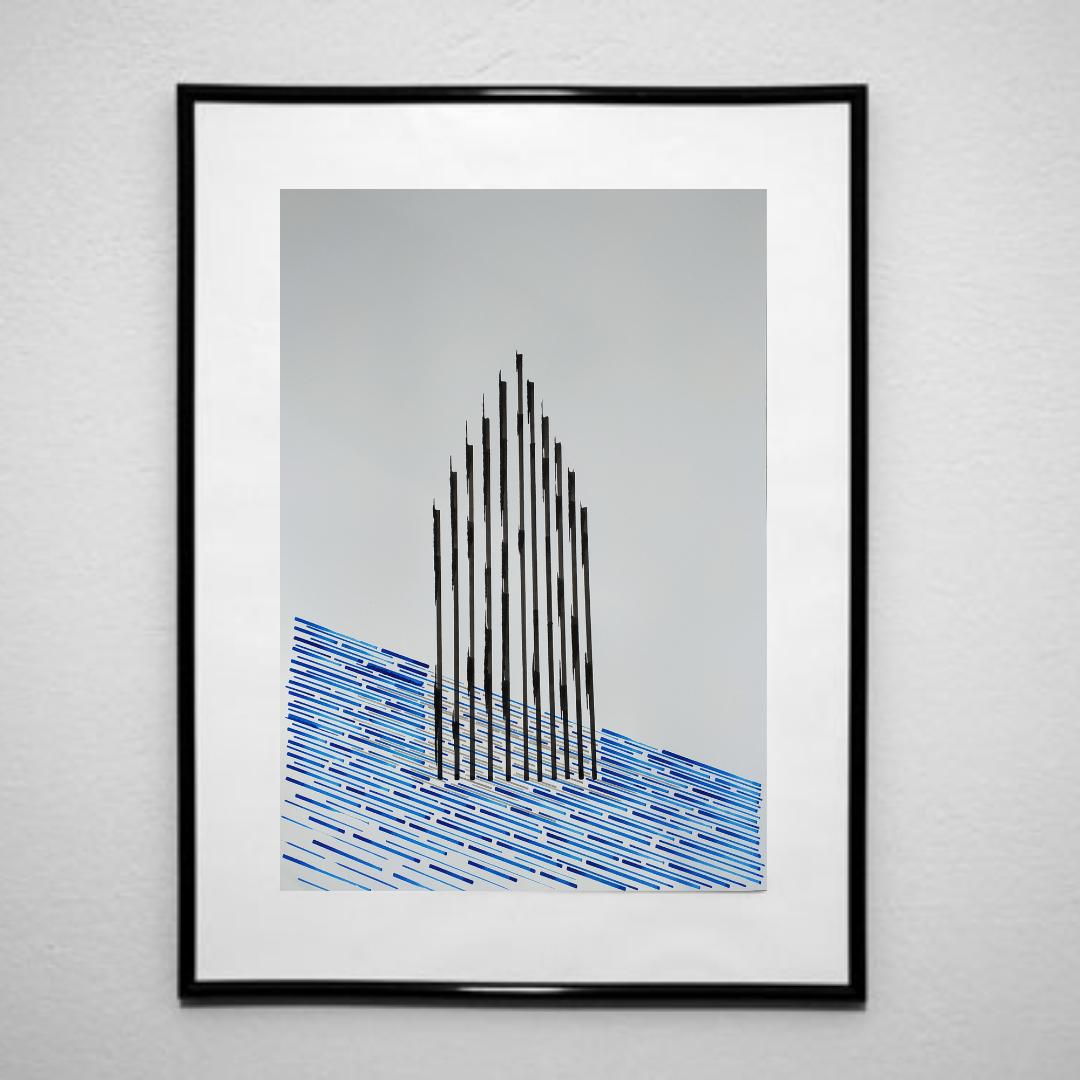 Ілюзія монументальності-1, 2020, чорнило на папері, 45*32 см