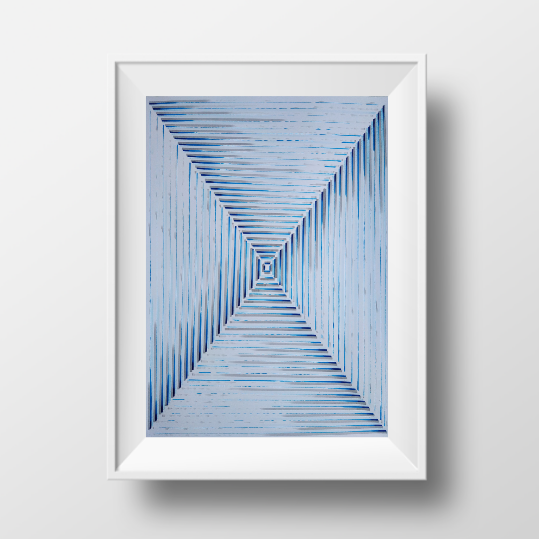 Коридор-Голубий, 2020, чорнило на папері, 45*32 см