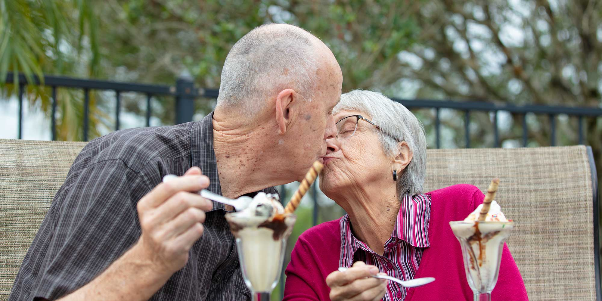 Elder couple enjoying ice cream at their Melbourne FL assisted living facility