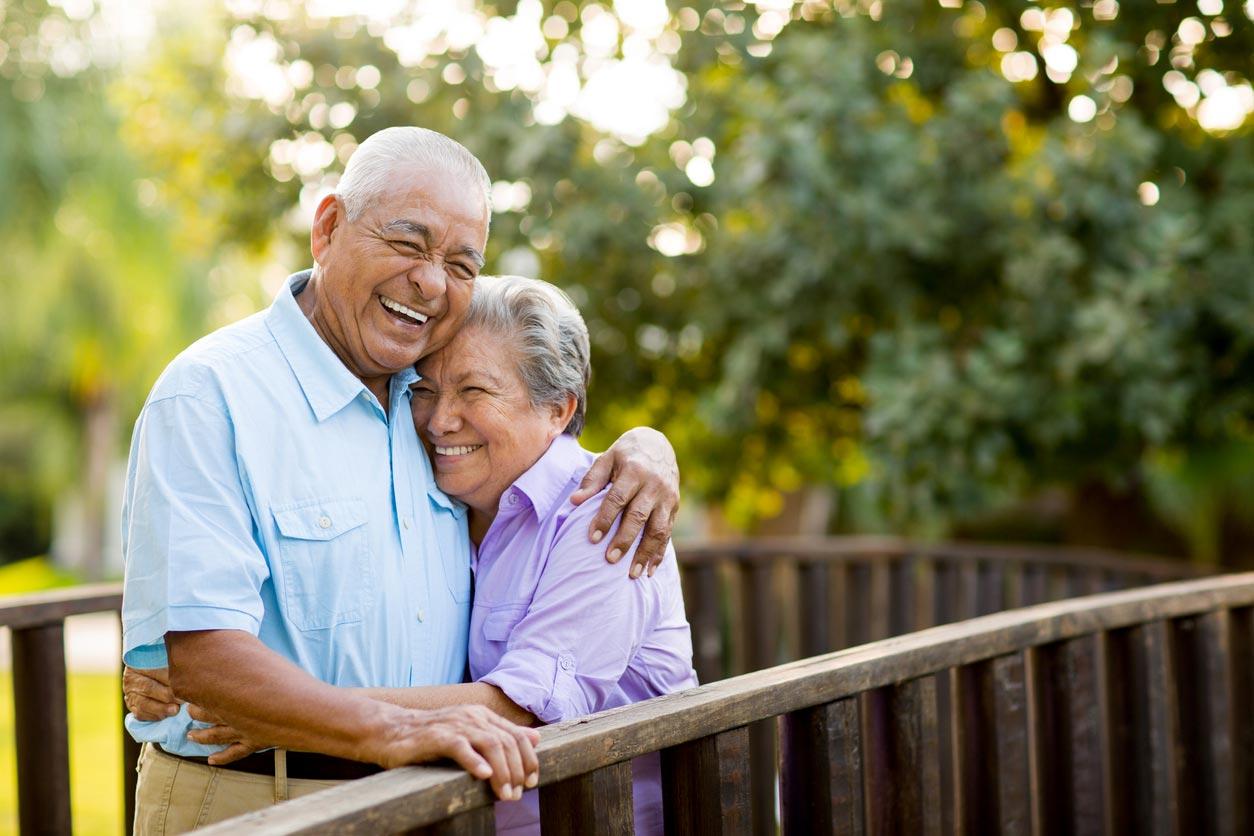 residents sharing a hug