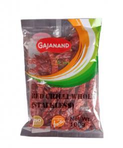Gajanand Red Chilli Whole Stick Less 100 gm