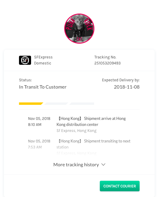 Easyship Tracking Page - Punk Rock Cat